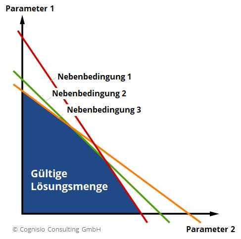 2D-Darstellung einer Lineare Funktion mit 3 Nebenbedingungen