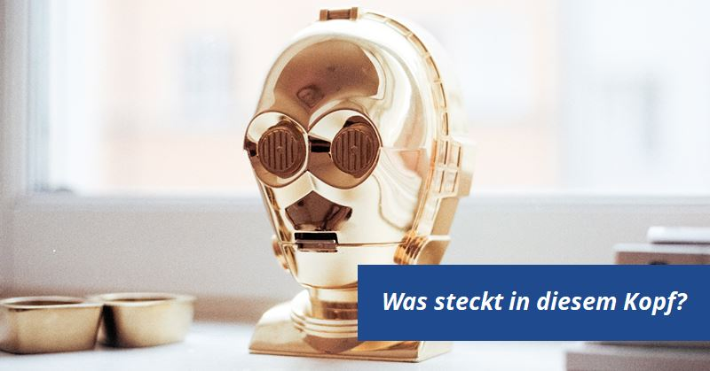 Shows head of golden star wars robot c-3po